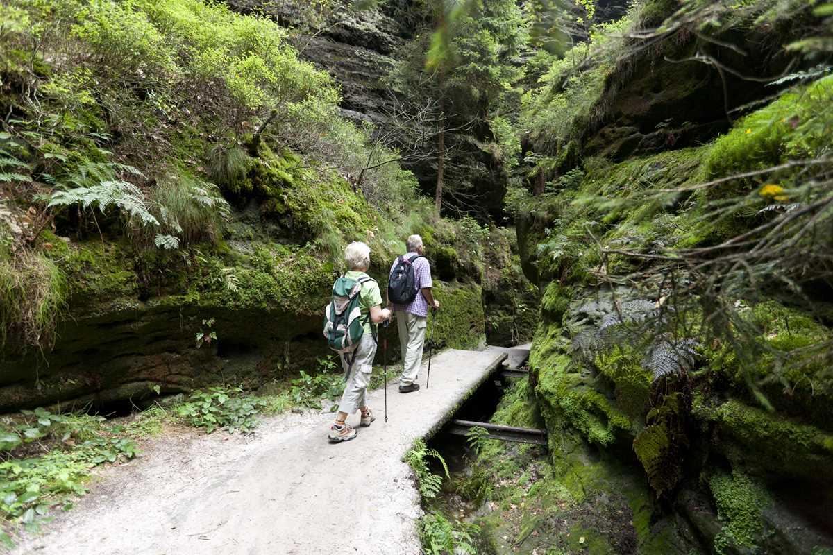Aufstieg zur Bastei durch die Schwedenlöcher im Nationalpark Sächsische Schweiz