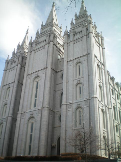 Der Salt Lake Tempel in der Nahansicht