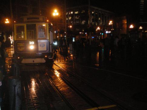 Ein Cable Car beim Wenden in der Powell Street