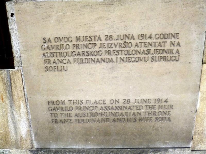 Die Kreuzung an der Lateinerbrücke: Ort des Attentats auf Franz Ferdinand in Sarajevo 1914
