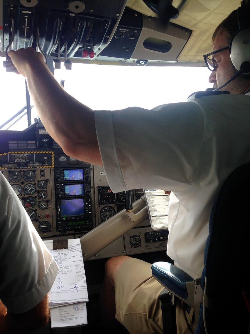 Auf dem Weg mit dem Wasserflugzeug von St. Croix nach St. Thomas