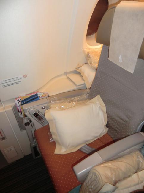 Sitz am Notausgang im Upper Deck des A380 von Singapore Airlines
