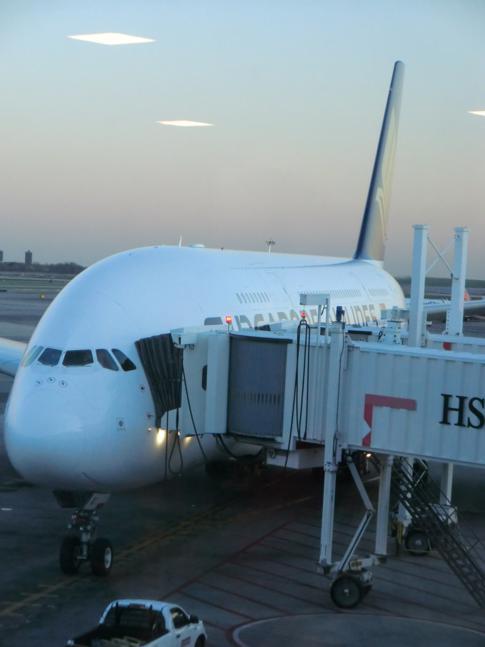Der A380 von Singapore Airlines am Flughafen New York John F. Kennedy