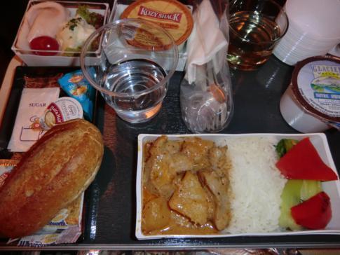Das Abendessen im A380 von Singapore Airlines auf dem Flug von New York nach Frankfurt