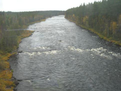Ein Flusslauf in Nordschweden zwischen Umea und Lulea