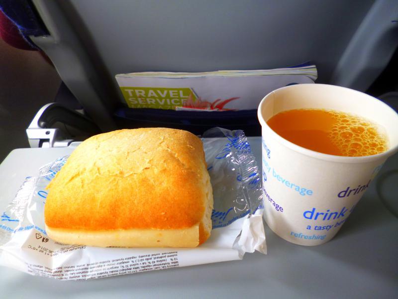 Snack in der Economy Class von Prag nach Split
