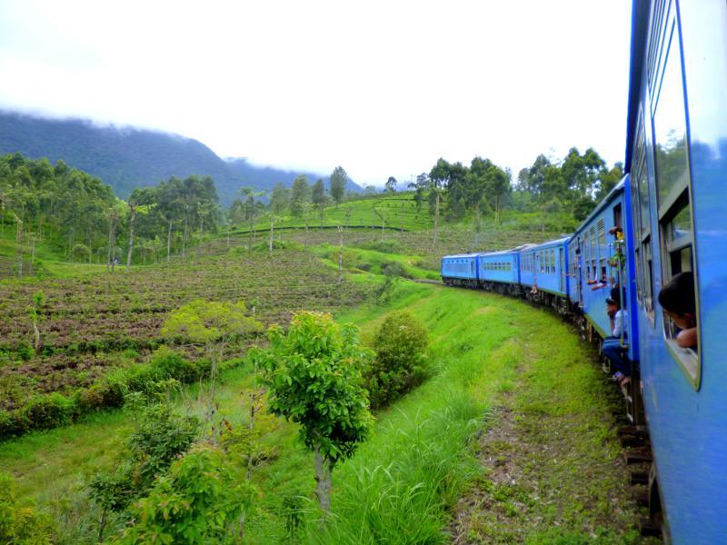 Der Zug bahnt sich seinen Weg durch das Hochland von Sri Lanka