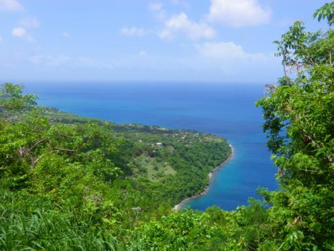 Ausblick von der ersten Etappe: die Westküste von St. Lucia