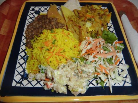 Saltfish und Green Peas, das Nationalgericht von St. Lucia (hier als Meal)