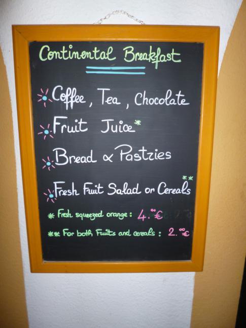 Frühstücksmenü im Alamanda Resort, St. Martin
