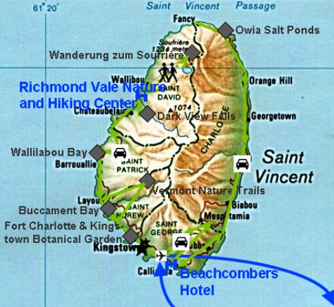 Landkarte zu meiner Reise durch St. Vincent