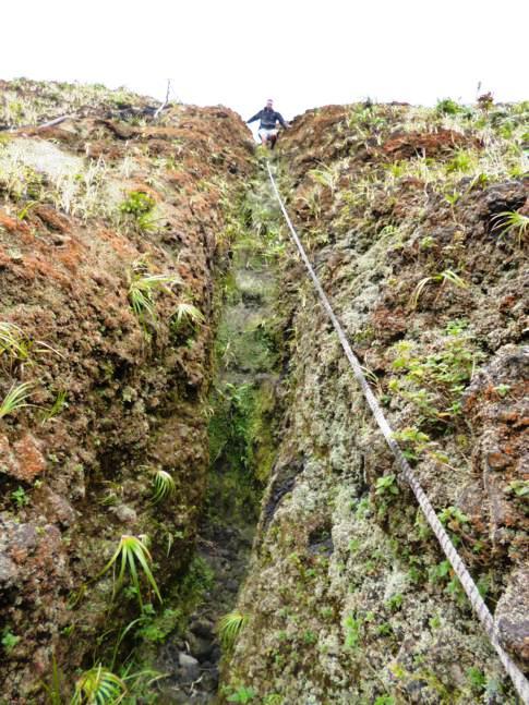 Anspruchsvoller Abstieg in das Innere des Soufriere mittels Seil