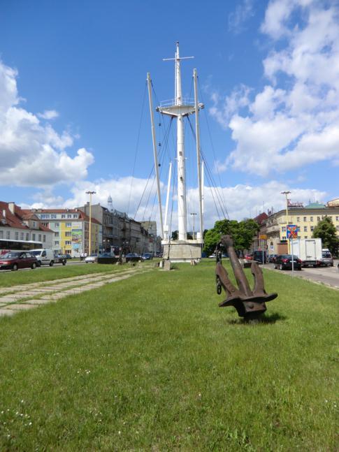 Der Dampfermast am Solidarnosc-Platz