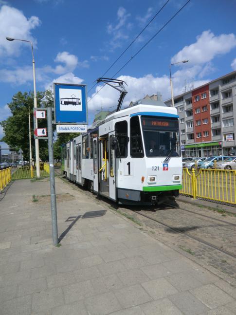 Eine neue Straßenbahn in Stettin