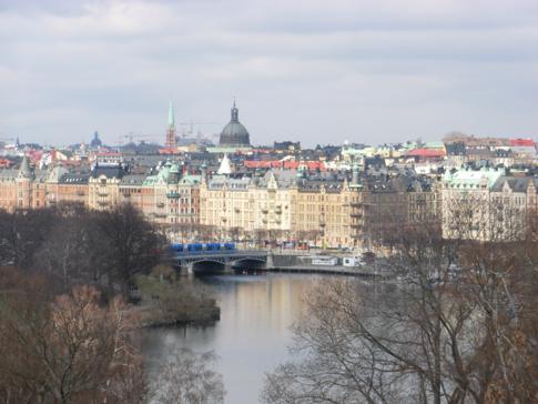 Aussicht von Skansen auf die Altstadt von Stockholm, Gamla Stan