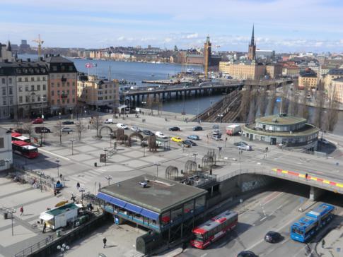 Slussen, ein zentraler Verkehrsknotenpunkt in Stockholm