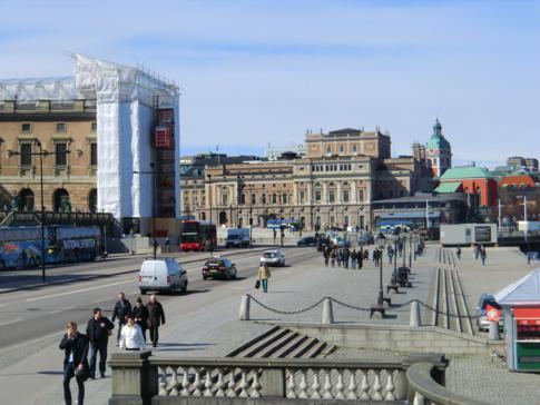 Das Denkmal von Gustav III. an der Ostseite von Gamla Stan