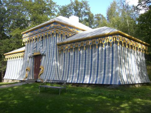 Die alte chinesische Wache im Schlosspark von Drottningholm in Stockholm