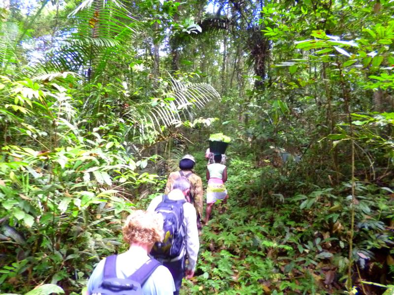 Beginn der Wanderung durch den Dschungel: die Back-to-Basic-Tour