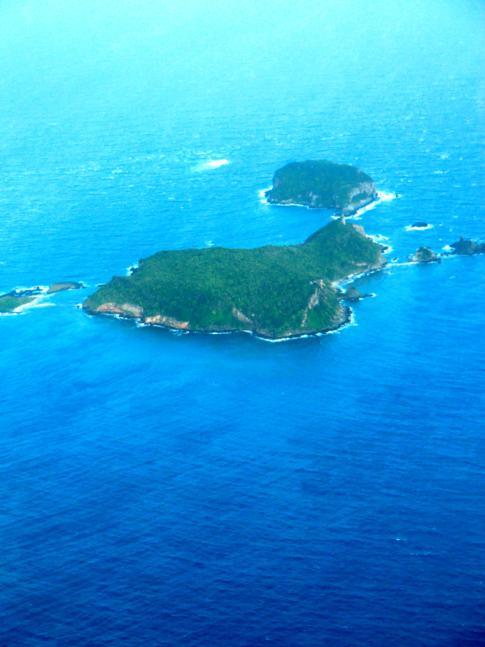 Flug mit SVG Air von Grenada nach Carriacou: Blick auf die Inselgruppe von Les Tantes