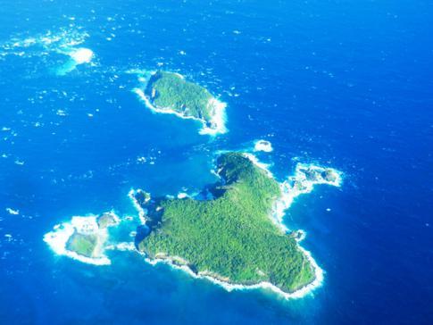 Die Inselgruppe von Les Tantes zwischen Grenada und Carriacou
