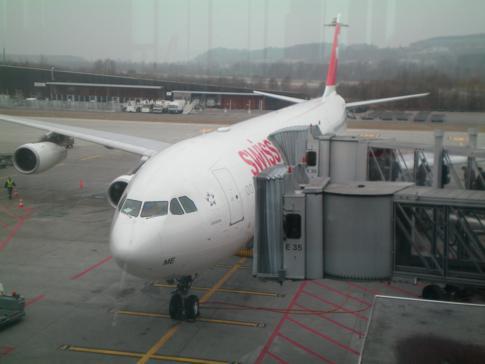 Die Swiss Maschine am Flughafen Zürich