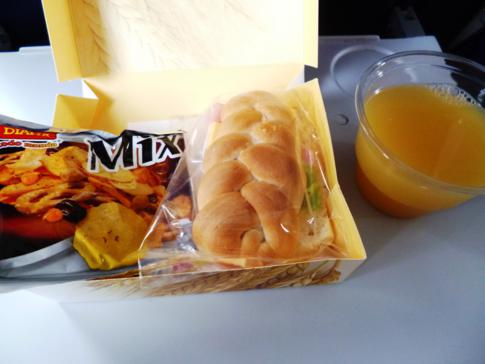 Snack auf dem Flug mit Taca von Managua nach San José de Costa Rica