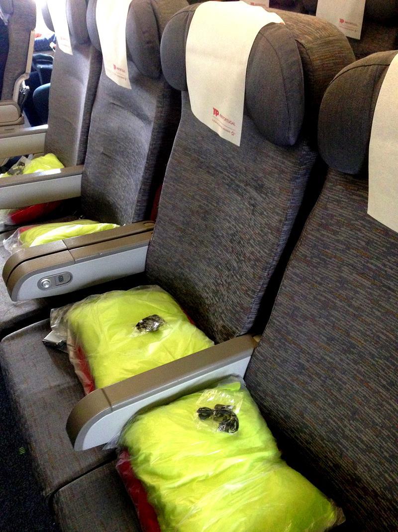 Sitze auf der Langstrecke in der Economy Class mit TAP Portugal