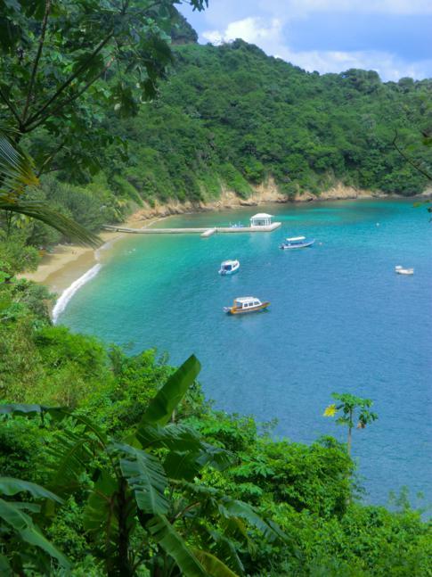 Das Blue Waters Inn in seiner malerischen und geschützen Bucht im Norden Tobagos