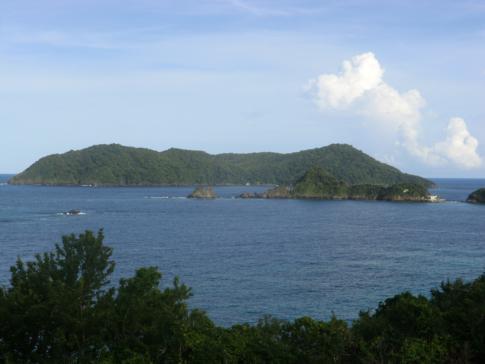 Die Inseln Little Tobago und Goat Island von Speyside aus gesehen