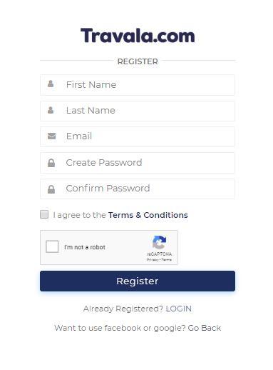 Registrierung bei Travala mit Willkommensbonus