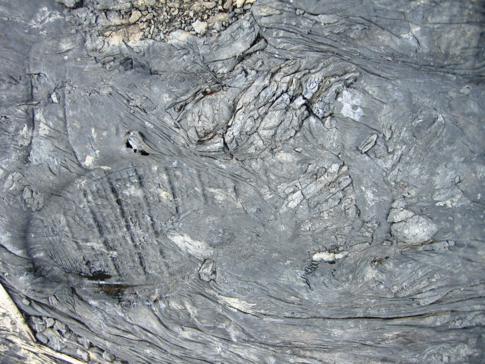 Fußabdrücke auf dem weichen Boden des Pitch Lake