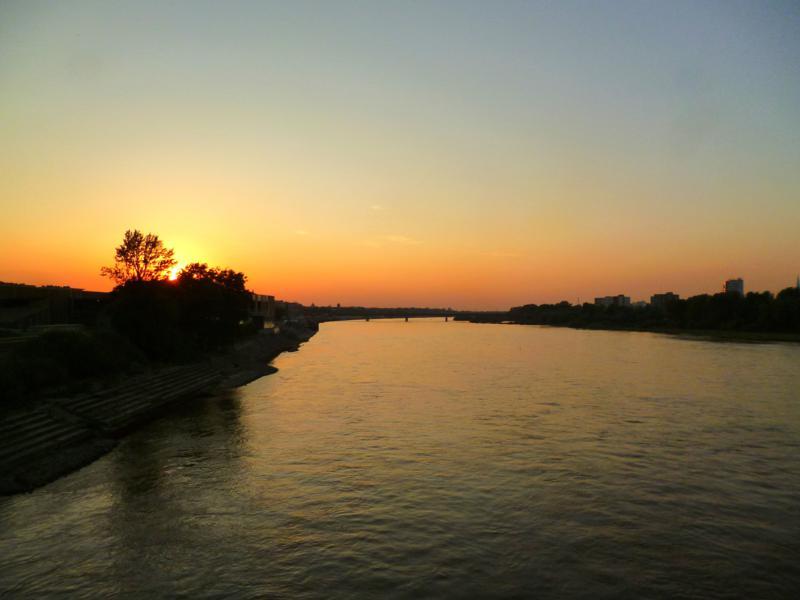 Abschluss eines tollen Tages: ein Sonnenuntergang in Warschau