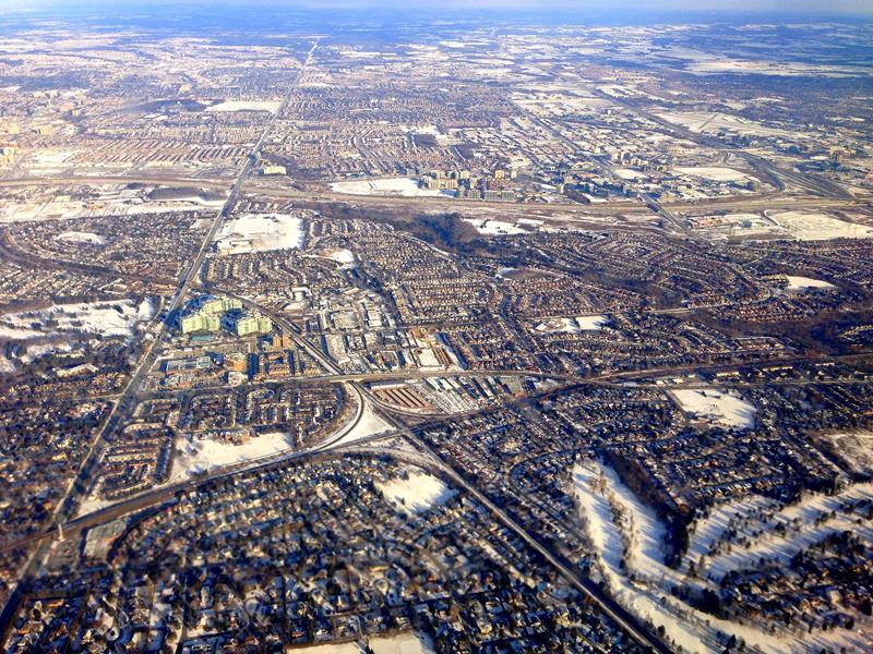 Blick über die Stadt von Toronto, dem Hub von Air Canada und Westjet