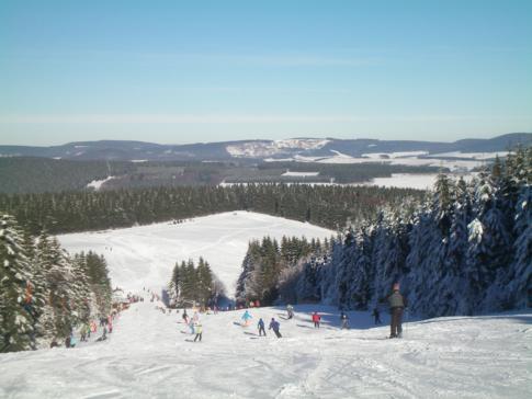 Blick auf eine Piste hinab vom Bremberg im Skikarussel Winterberg
