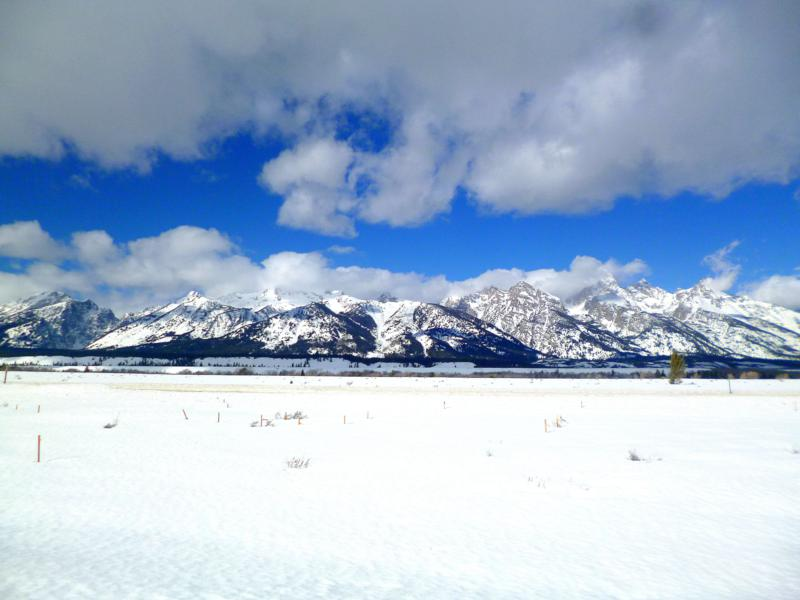 Traumhafte Winterlandschaft im Grand Teton National Park in Wyoming in den USA